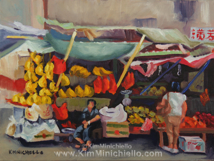 "Banana and Peanut Seller, oil on panel, 12"" x 9"""