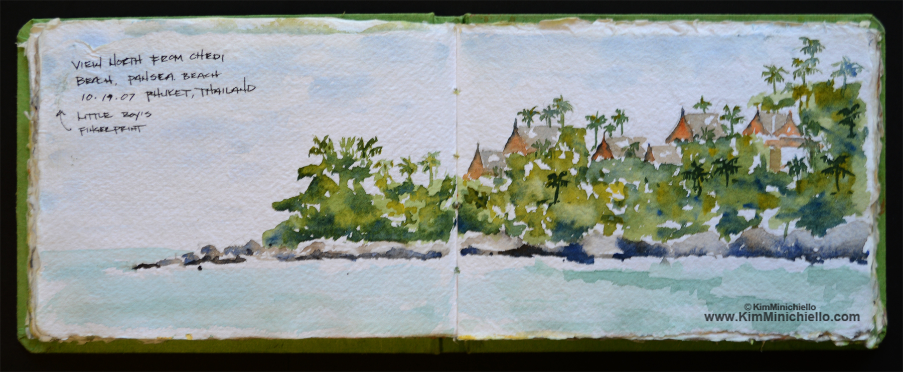 Chedi Beach, Phuket Thailand, Watercolor Sketch