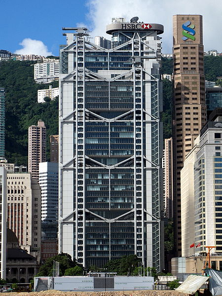 The HSBC building designed by Norman Foster, image via Wikimedia Commons