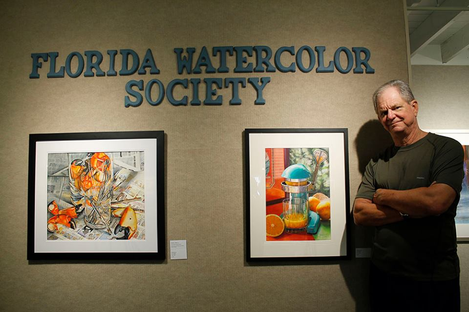 My friend, Frank Spino with his Painting, Orange Crush, Frank is also the cover artist of Splash 14