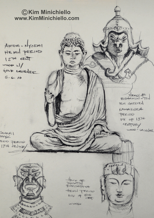 Montage of Sketches of works in the Musee Guimet using Black Prismacolor Pencil