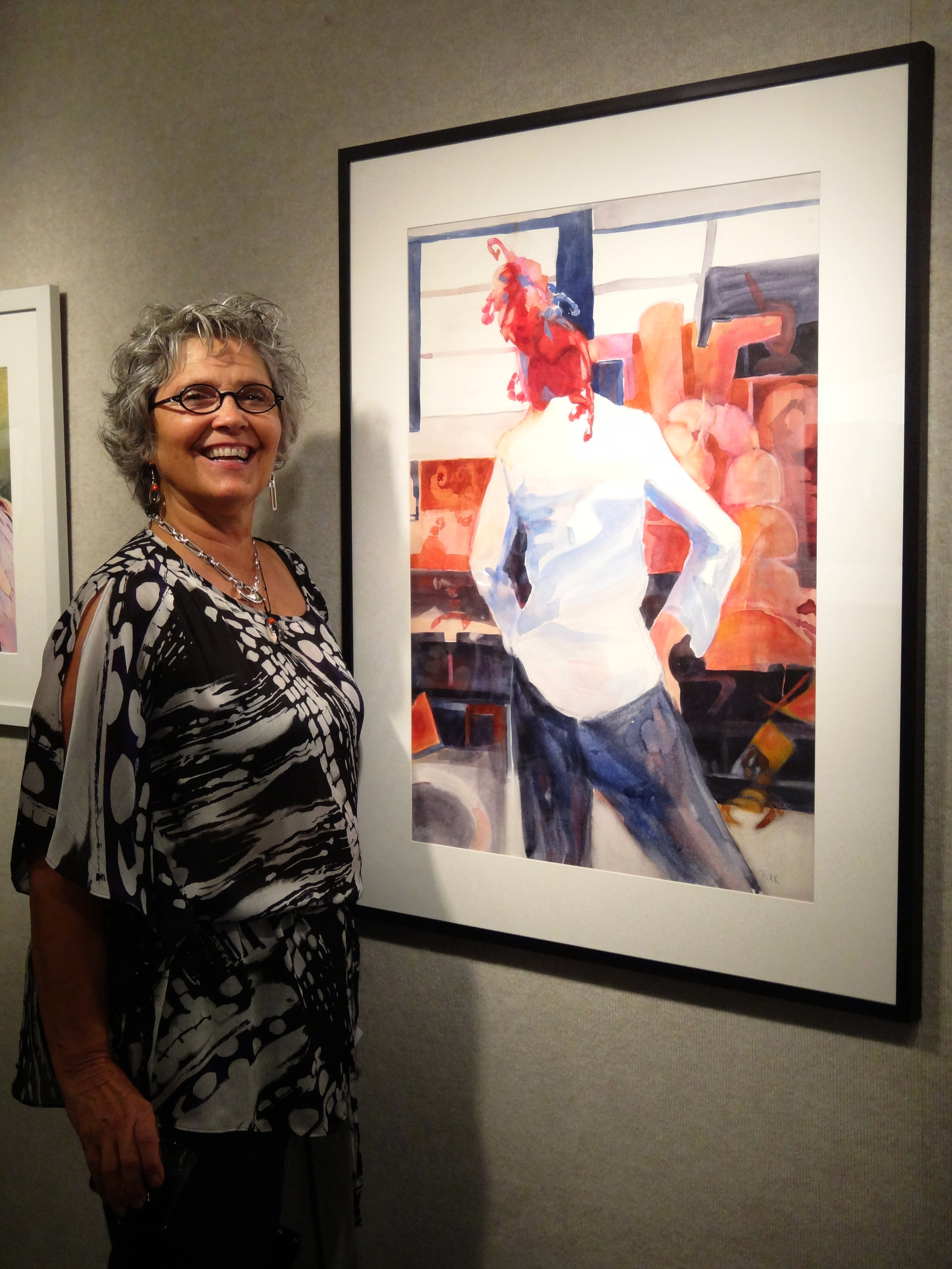 Friend Teresa Kirk with her painting, Scorpion VII, this painting also won an award in the show.