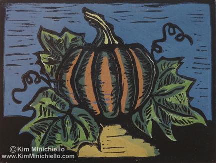 Pumpkin, Wood Block Print