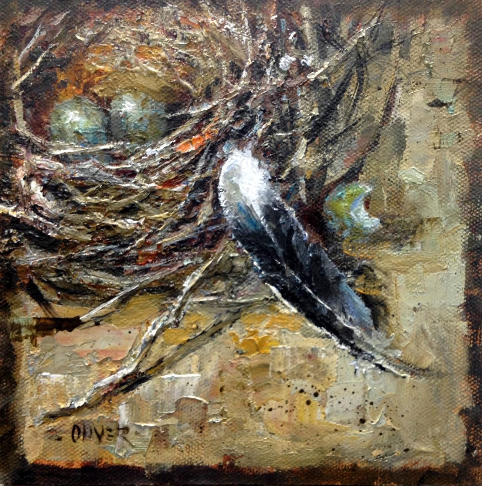 Nest & Feather, oil, 6 x 6, by  Julie Ford Oliver   photo via  Julie's blog