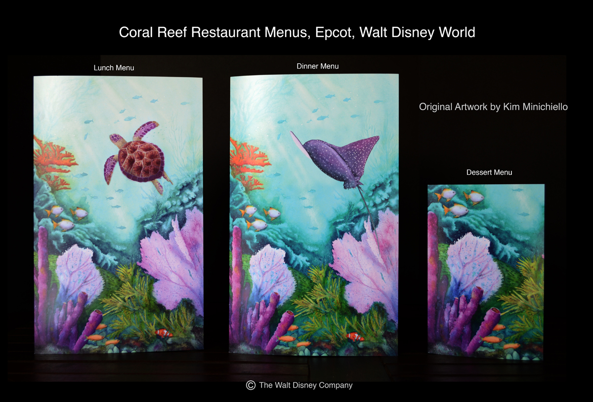 The Lunch, Dinner and Dessert Menus for the Coral Reef Restaurant at Epcot