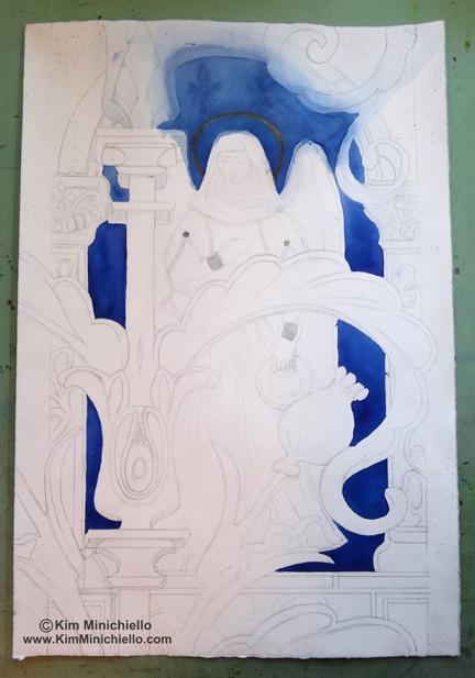 "Work in Progress, Watercolor on Handmade Paper, 15"" x 22"" , 38 cm x 56 cm"