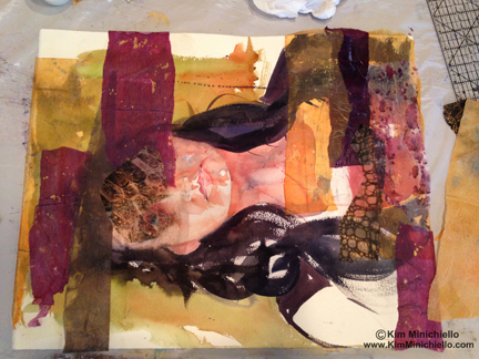 Collaging over painting done in life drawing session. Sorry Stephanie!
