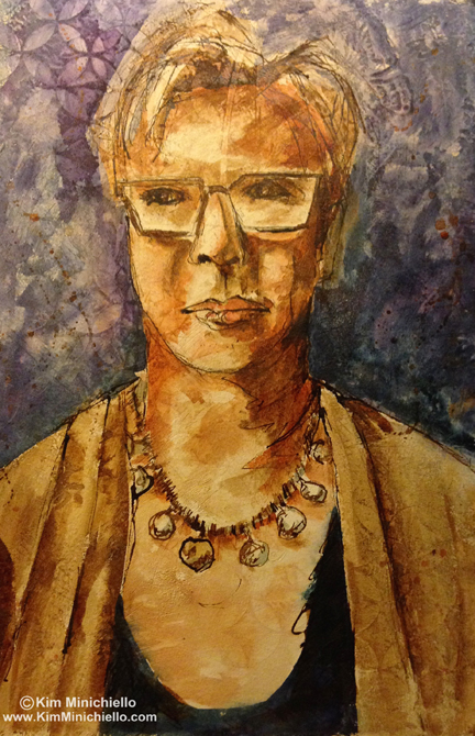 Selfie done on textured gesso surface over ink drawing.