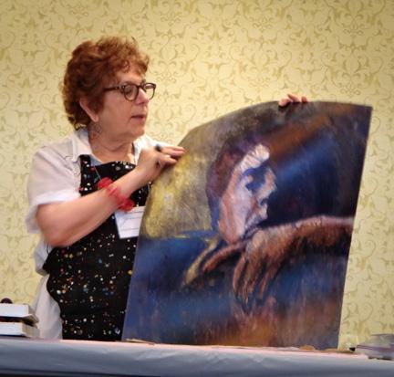 Myrna Wacknov showing us her work on Yupo.