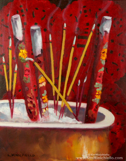 "Joss Sticks, Oil on Panel, 11"" x 14"", 28 cm x 35.5 cm, Collection of the Artist"