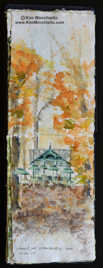 Luxembourg Gardens, Paris France, Watercolor Sketch