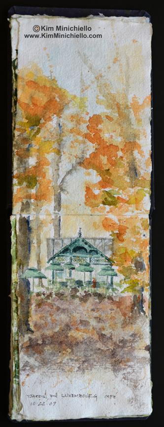 Luxembourg Gardens, Paris France, Watercolor Sketch