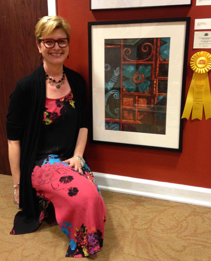Yours Truly with Honorable Mention Award for Mayan Gate, Watercolor