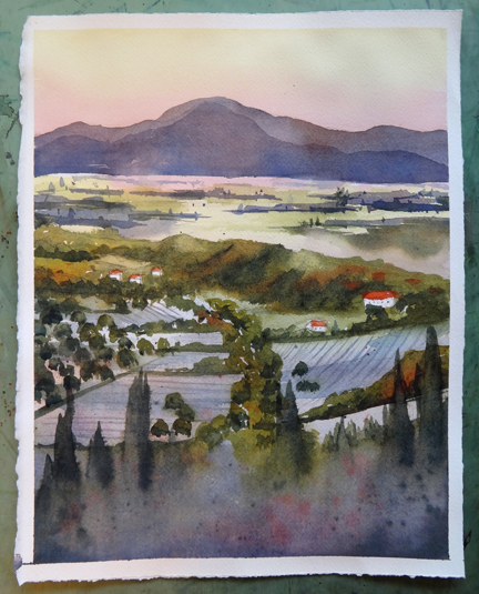 My Painting of Vanasque, Provence, France Done During the Workshop