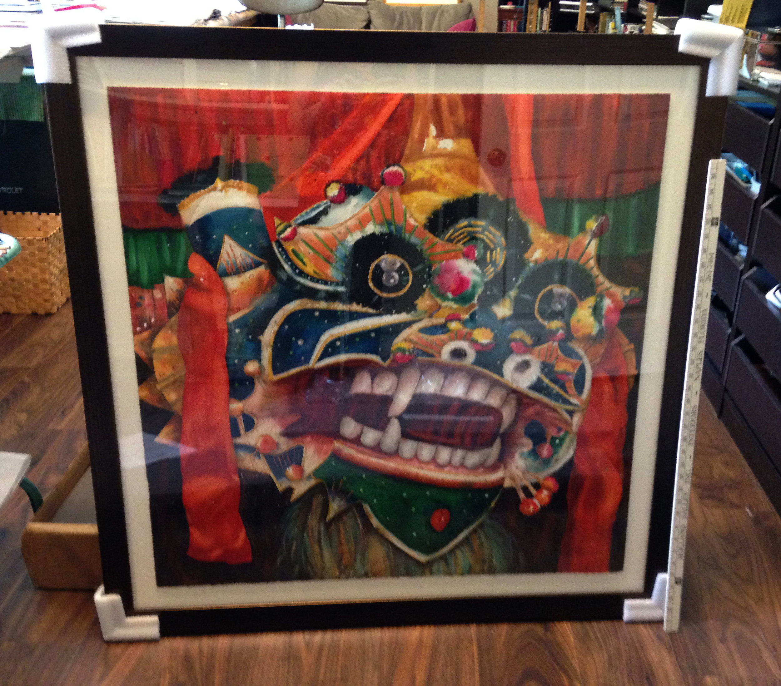 "Lion Dance, ,"" getting ready to be shipped to the Southern Watercolor Society Exhibition at the Customs House Museum in Clarksville, TN May 8-July 5"