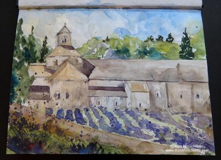 """Watercolor Sketch, Abbey Notre-Dame de Sénanque, near Gordes, France in Stillman & Birn Alpha Series Sketchbook, 9"""" x 12"""""""