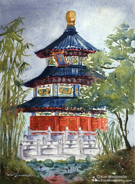 "China, Watercolor on Handmade Paper, 10"" x 14"""
