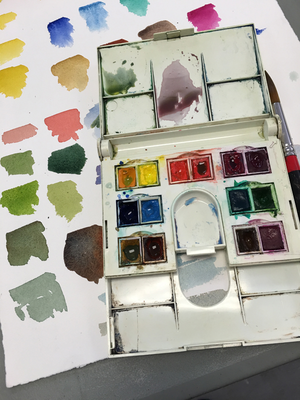 A little lesson in color mixing before heading out to sketch.