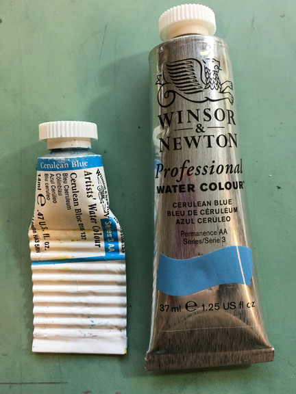 Older Windsor Newton packaging on left and new packaging on the right.
