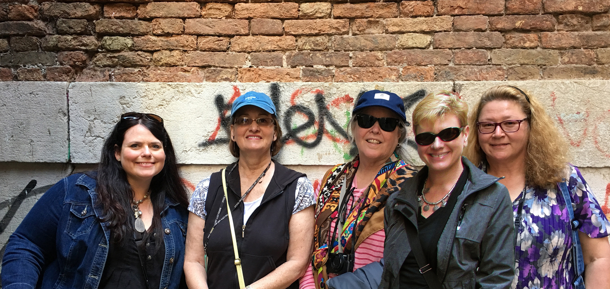 From left to right: Carrie Waller, Helen Beacham, Maria Bennett Hock, me, and Debra Kierce