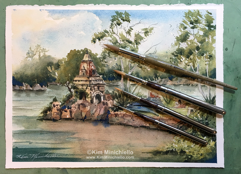 "My latest plein air painting ""Peaceful Morning,"" Watercolor, 14"" x 10"" done at Disney's Animal Kingdom on my Friday Morning Paint Sessions with a few Walt Disney Imagineers using Escoda Perla Brushes"