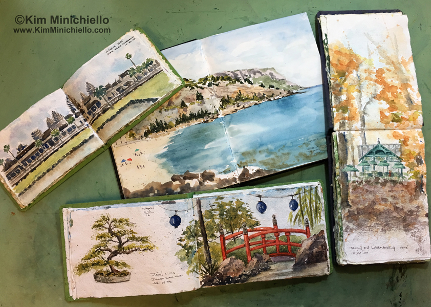 Sketches of Angkor Wat, in Cambodia, Cassis in Provence, South of France, Luxembourg Gardens in Paris, and the Japanese bridge in the Japan Pavilion at Epcot, Walt Disney World