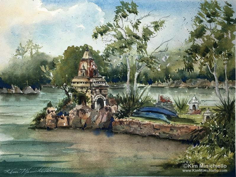 """Peaceful Morning,"" Watercolor, 11"" x 14""Asia Area of Disney's Animal Kingdom"