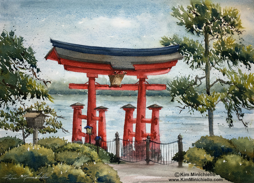 Tori Gate, 14 x 11, Watercolor