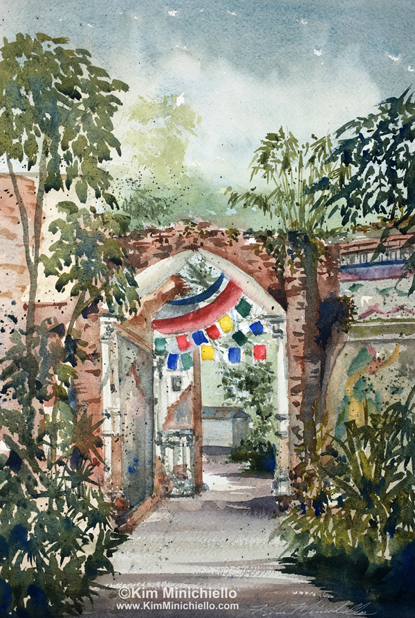 """Next to the Tigers, Plein Air Watercolor, 14"""" x 9.5"""""""