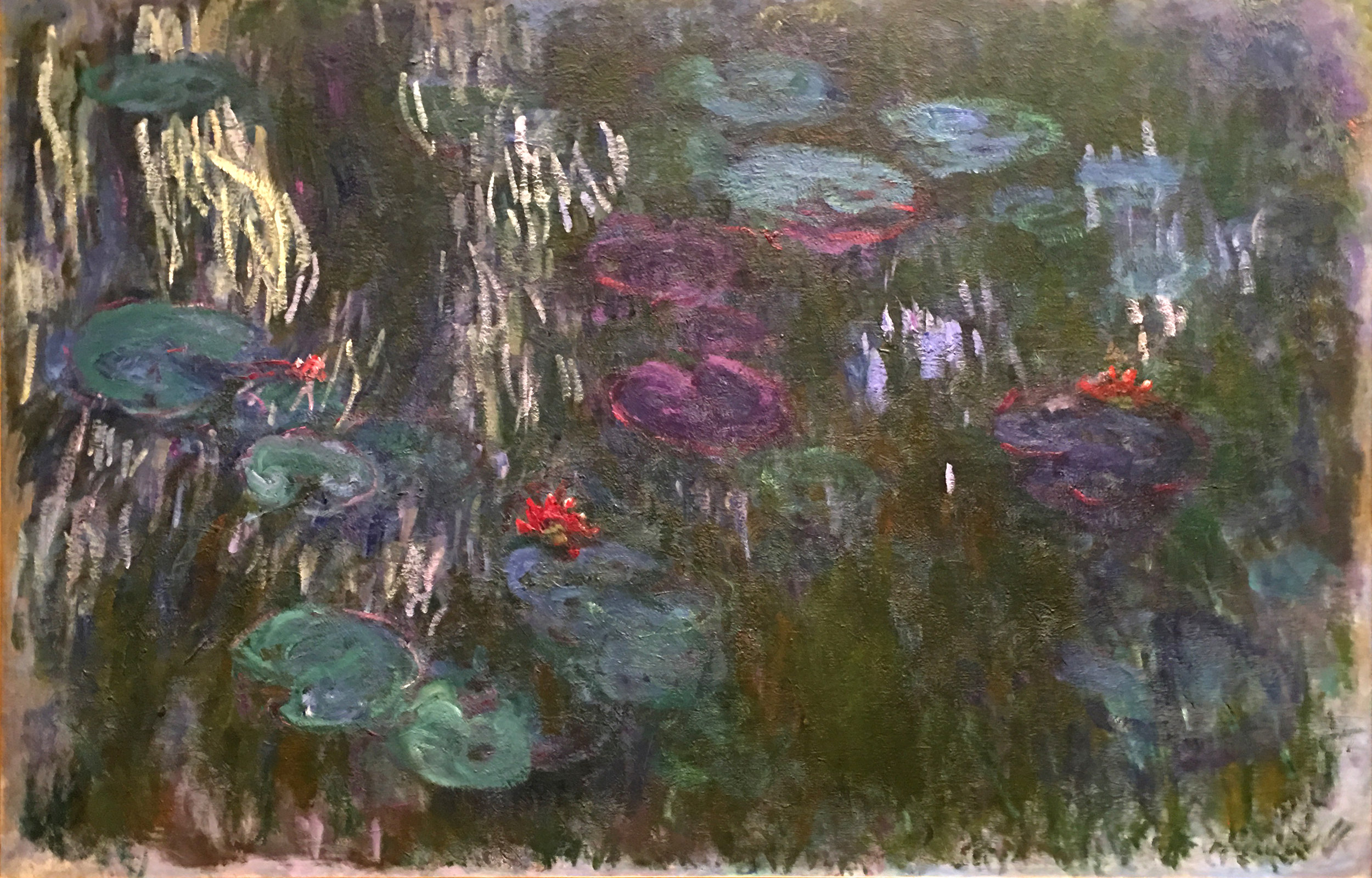 "Claude Monet's ""Water Lilies, Reflecions of Weeping Willows,"" ca. 1918, at the Metropolitan Museum of Art, New York.  A study for the the grand paintings in the L'Orangerie in Paris"