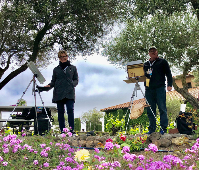 My Husband and I painting at the Viansa Winery, photo credit Barbara Tapp