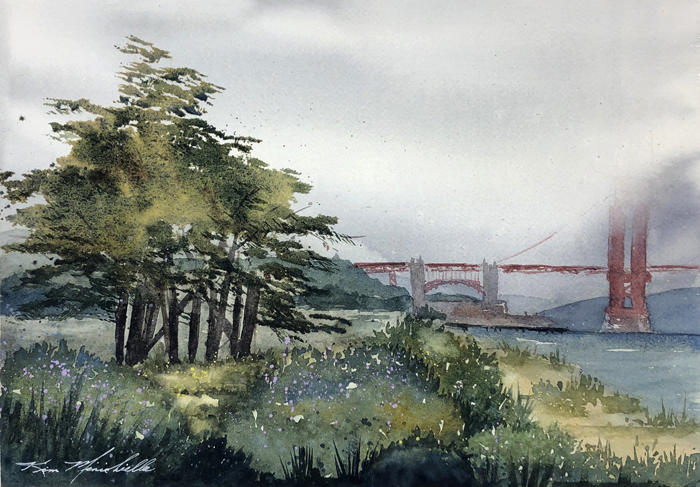 """Fog Rolling In,"" Watercolor, 10"" x 14,"" Painted Plein Air at Crissy Field, finished in the Studio"