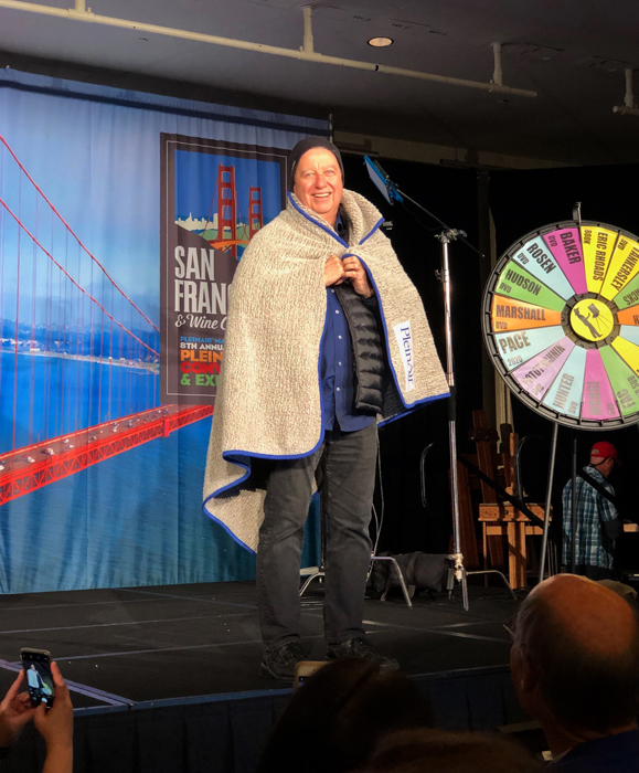 Eric Rhoads at Home Room, Spinning the Wheel for Prizes and Dressing for the San Francisco Weather