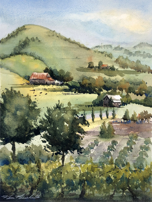 """Wine Tasting,"" Watercolor, 14"" x 10"" Plein Air at Viansa Winery"