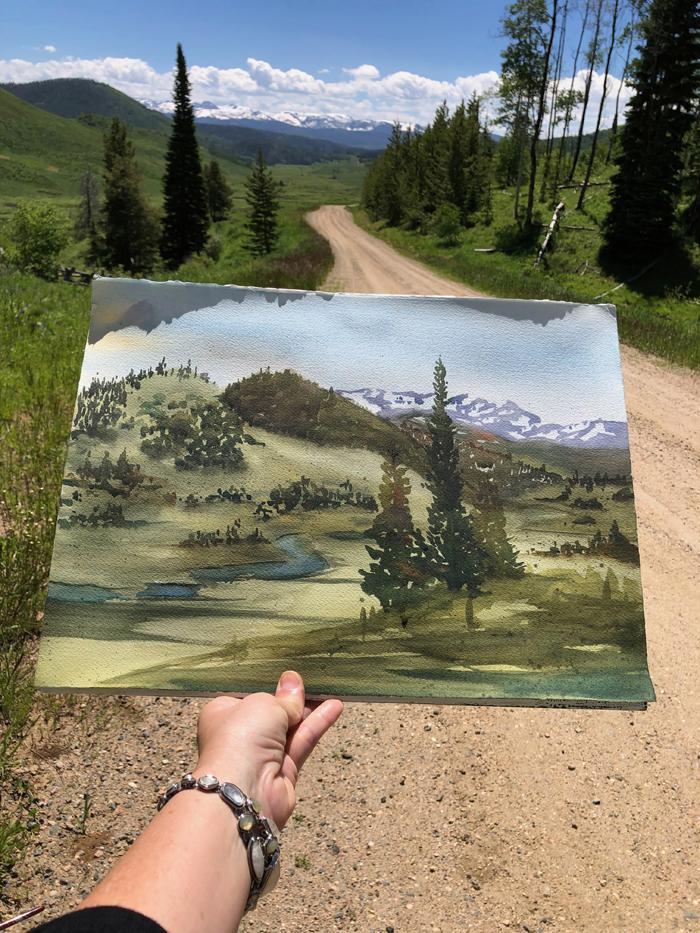 Snow Capped, Watercolor, Painted en Plein Air