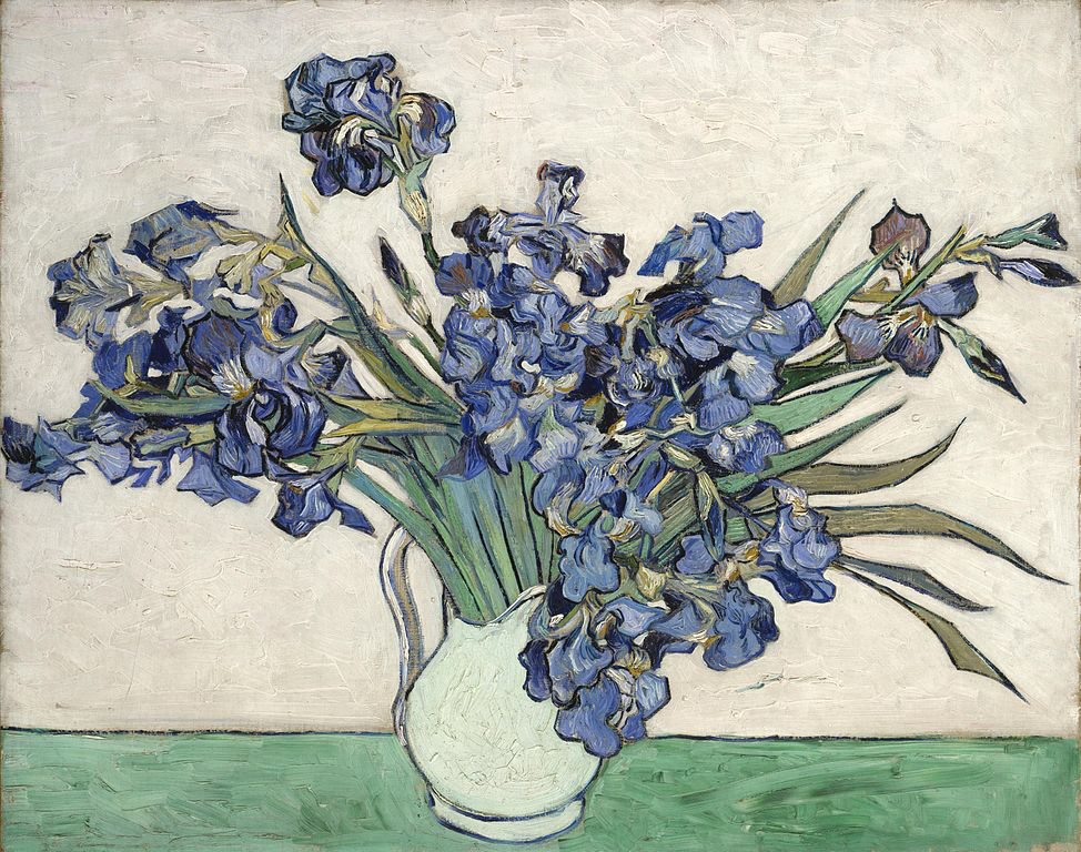 Still life of Irises, 1890 Saint-Rény, photo Wikimedia Commons, collection Metropolitan Museum of Art