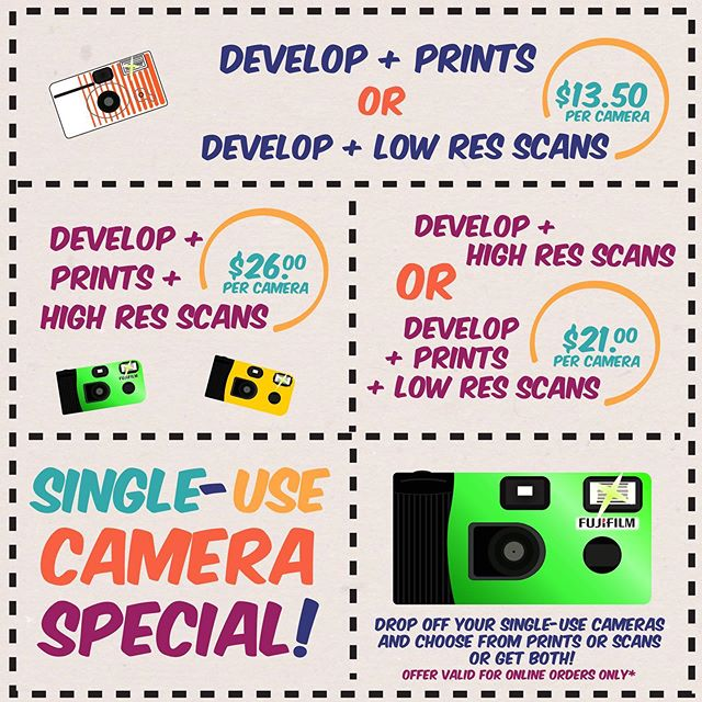 Single-use cameras are amazing and so easy to use! You point and shoot and let us take care of the rest! Check out our Single-Use Camera Special this month! Offer valid for online orders only. So ship us your cameras or drop them off in person ! We look forward to your photos!  #crcnyc #colorresourcecenter #profilmlab #filmlab #singleusecamera #disposablecamera #disposable #processing #developing #filmcamera #film #kodak #fujifilm #c41 #35mm #ilfordhp5 #photoftheday #special #filmspecial #filmphotography