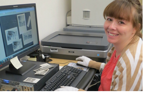 Angela Moore interns with UNLV Lied Library's Special Collections.