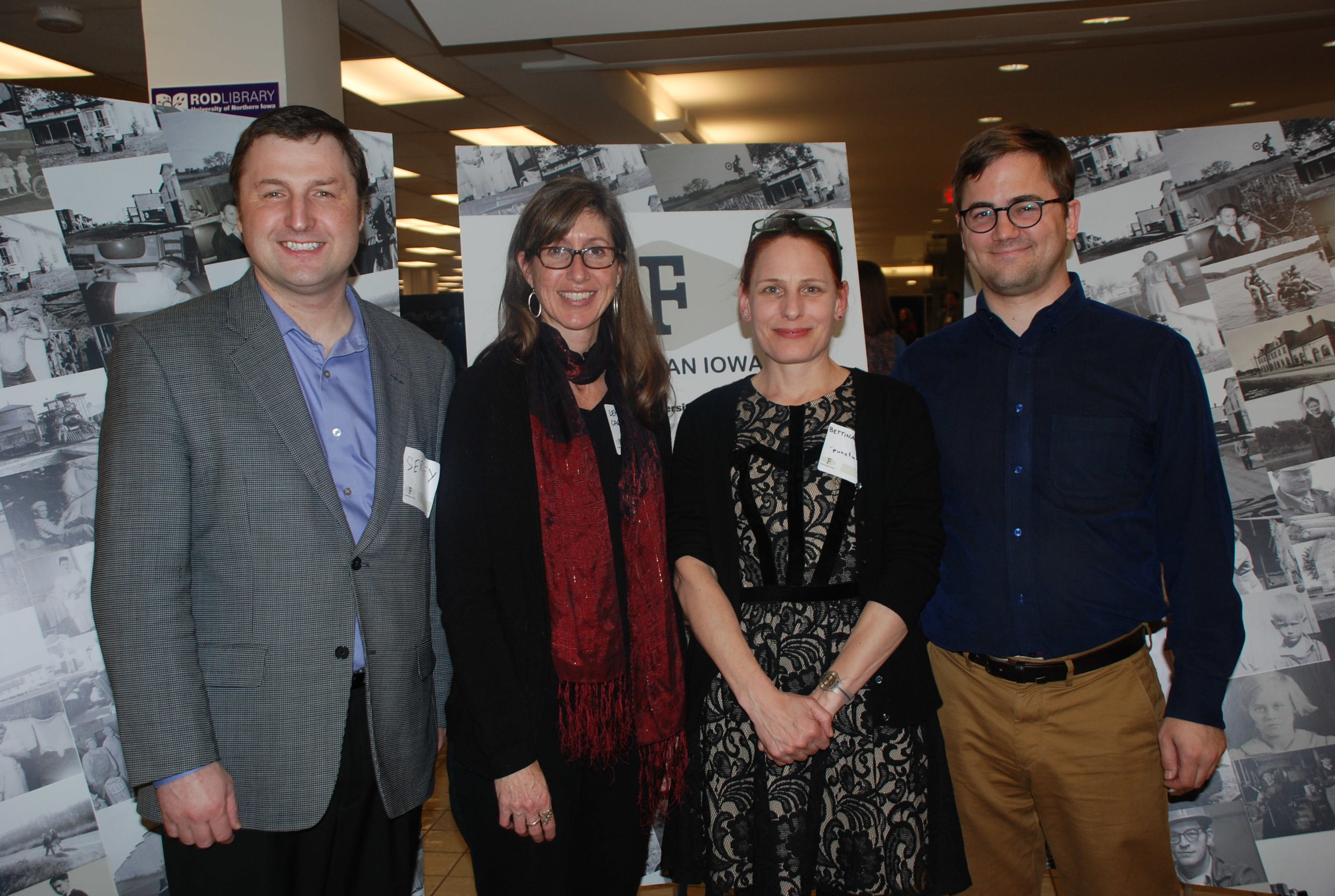 The collaborators of Fortepan Iowa -left to right: Sergey Golitsynsky, Leisl Carr Childers, Bettina Fabos, and Noah Doely. Fortepan Iowa opening. March 25, 2015.
