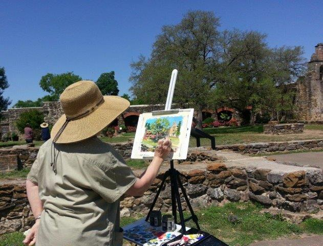 Martha painting Mission Espada on location