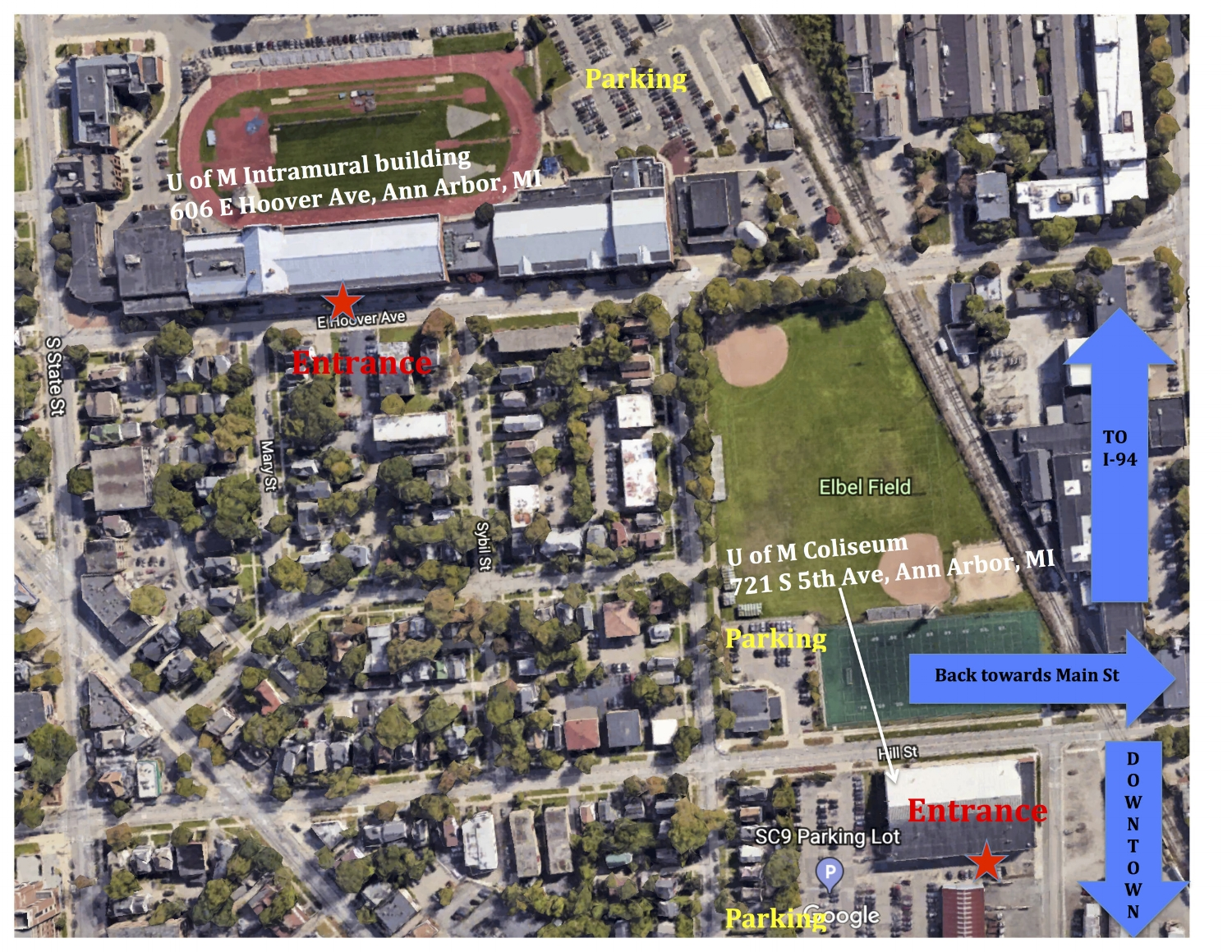 U OF M COLISEUM & INTRAMURAL BUILDING MAP