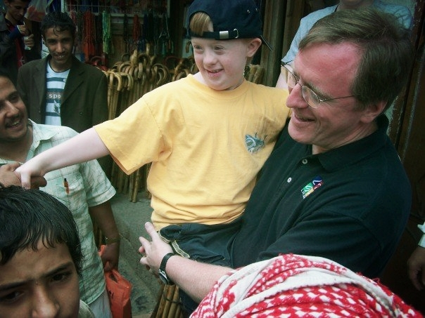 Dr Griffin and his son Luke at Bab al-Yemen in Sana'a