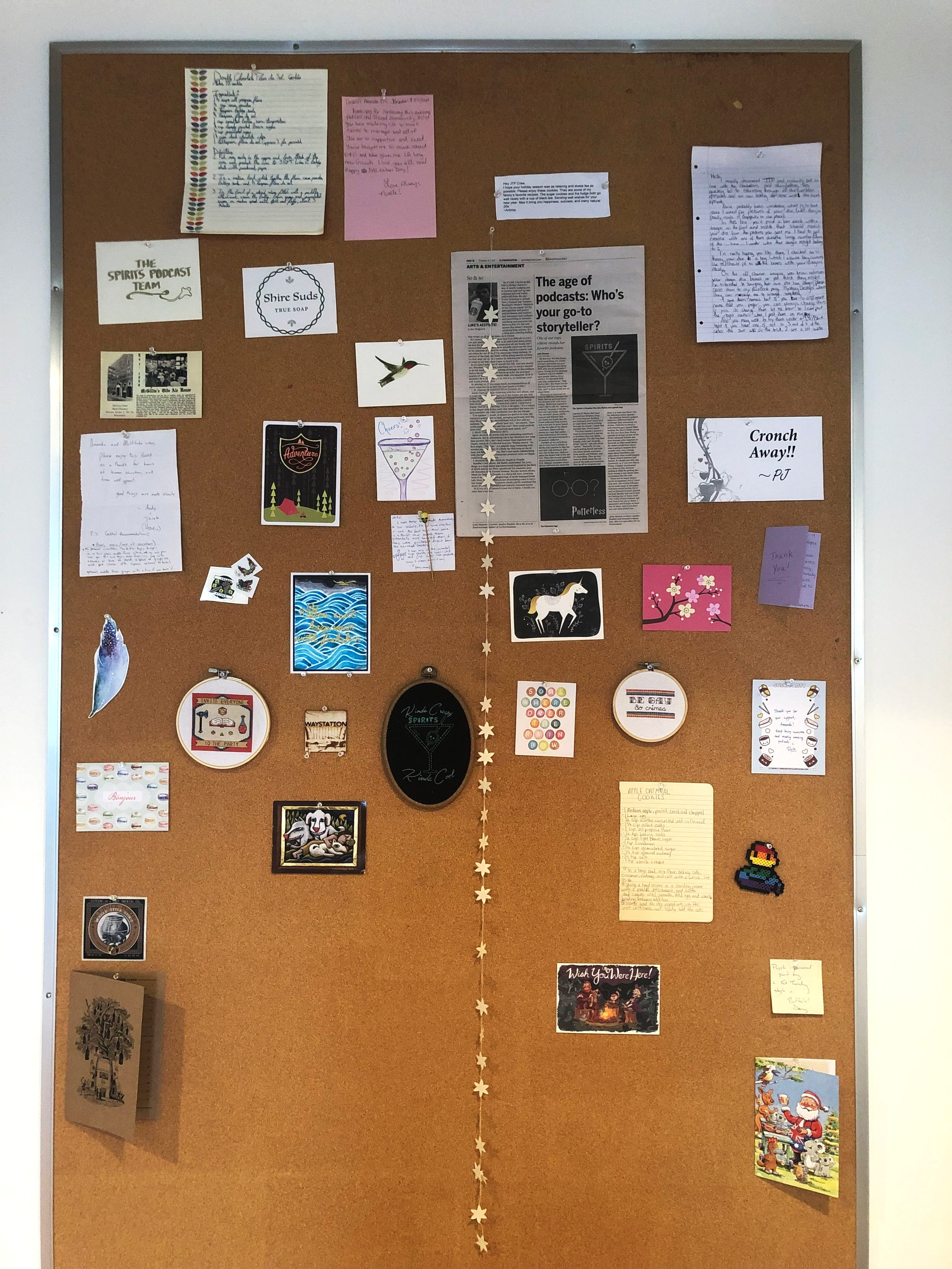 Our fabulous Wall of Listener Letters! Send us a postcard from your next vacation—address  here .