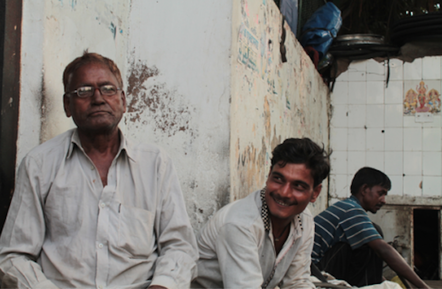 Workers at the Singal Pur labour chowk in Delhi.