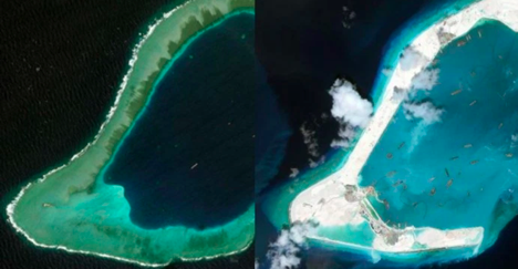 Before and after: The transformation of Subi Reef into a 4000 square kilometer island. ( Image Source )