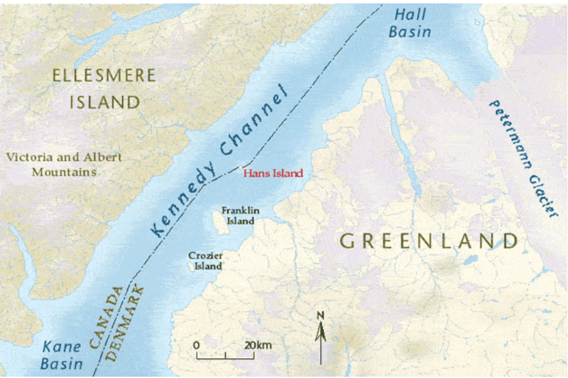 Mapping of the territorial dispute over the Hans Island