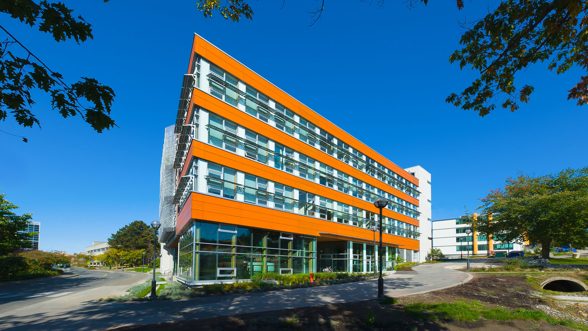 Side view of the Centre for Interactive Research on Sustainability, the home of UBC Sustainability. (UBC photo)