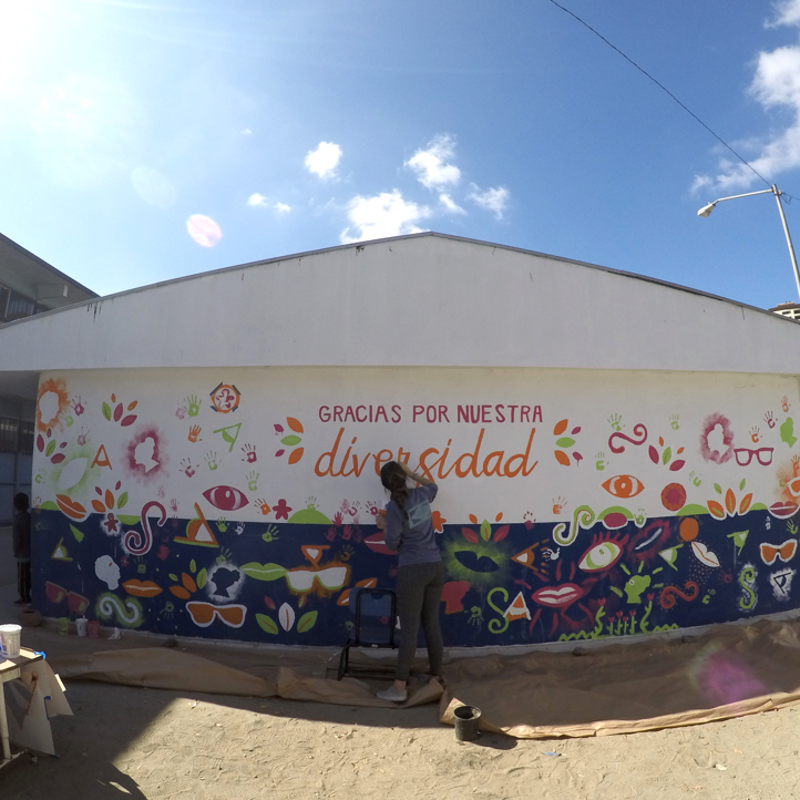 Cuauhtemoc Elementary School Interactive Mural - Designed an inclusive mural paintingexperience for students that have disabilities in Tijuana, Mexico allowing them ownership and pride for the painting they created.
