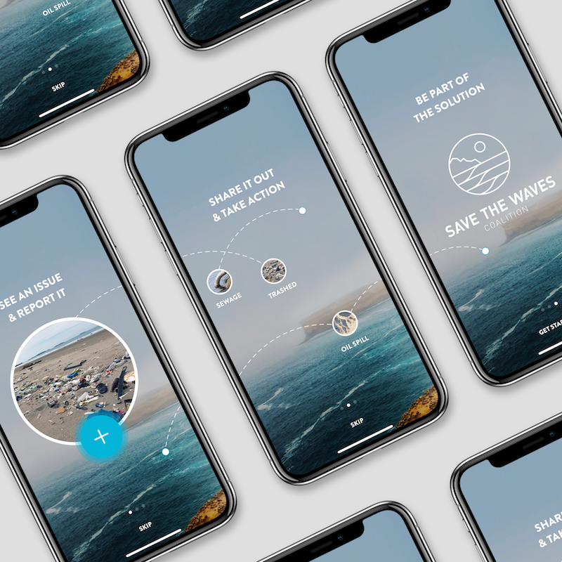 Endangered Waves App - UI DESIGN – An ocean conservation app for the Save the Waves Coalition that I designed the onboarding screens and in-app icons for while interning at MJD Interactive.