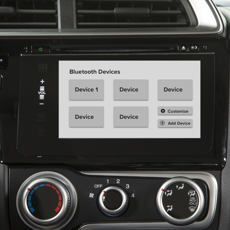 Honda Interface Usability - USABILITY ANALYSIS –Honda's touchscreen interface is incredibly frustrating to navigate; as a self-initiated project I analyzed the biggest pain points and designed low-fidelity wireframes to address these issues.